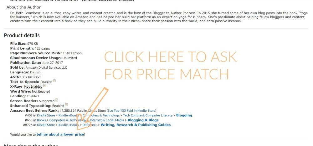 where to click to ask Amazon to match the price of a book or ebook